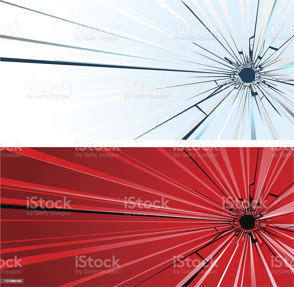 Bullet hole in glass royalty-free stock vector art
