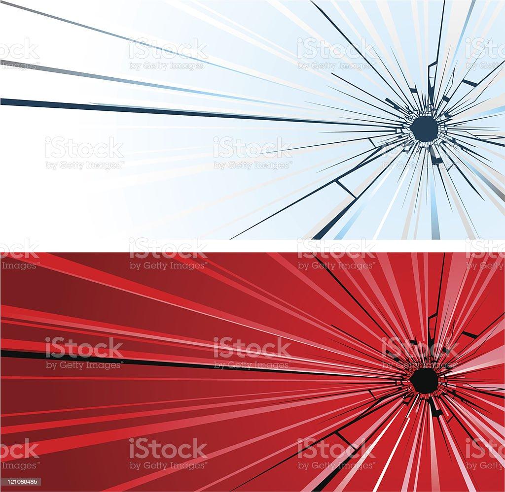 Bullet hole in glass vector art illustration