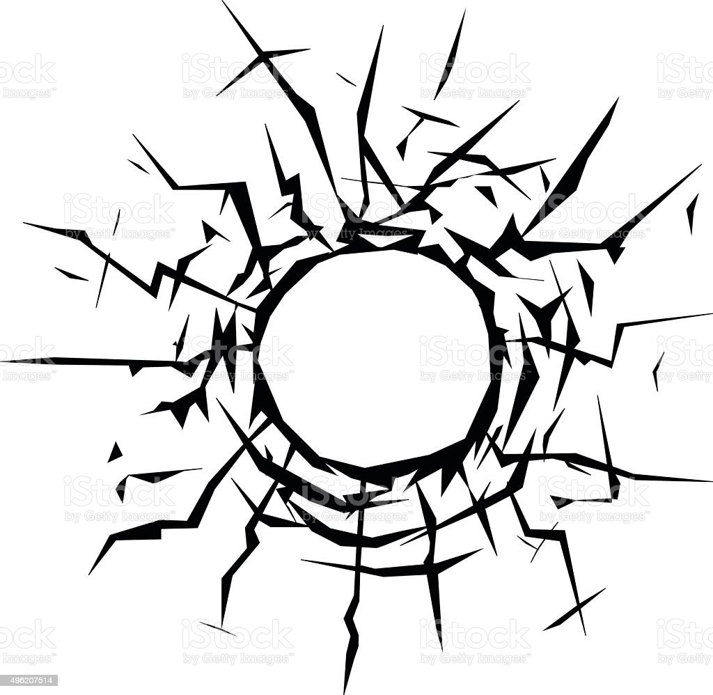 Bullet Hole On A Window Icon For Apps And Websites stock vector ...
