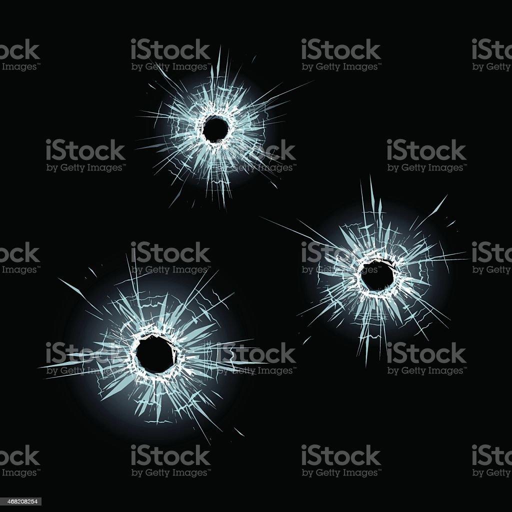 Bullet holes in glass vector art illustration