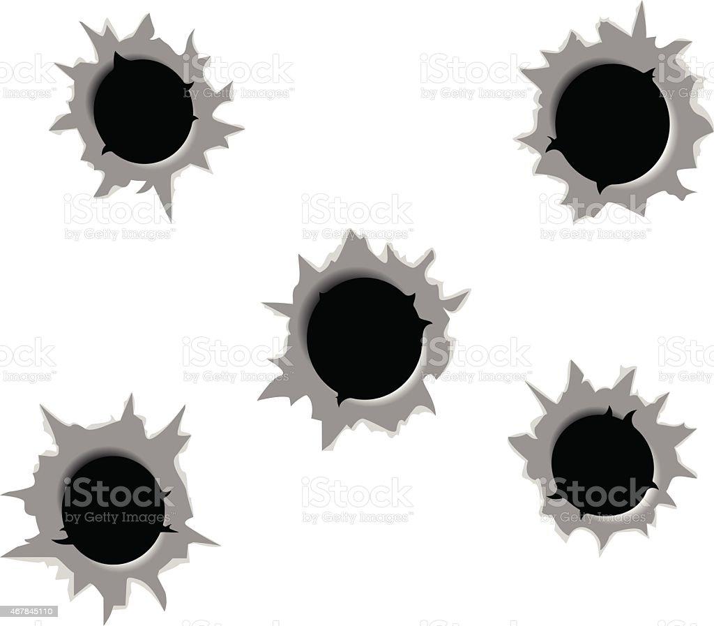 Bullet holes vector art illustration
