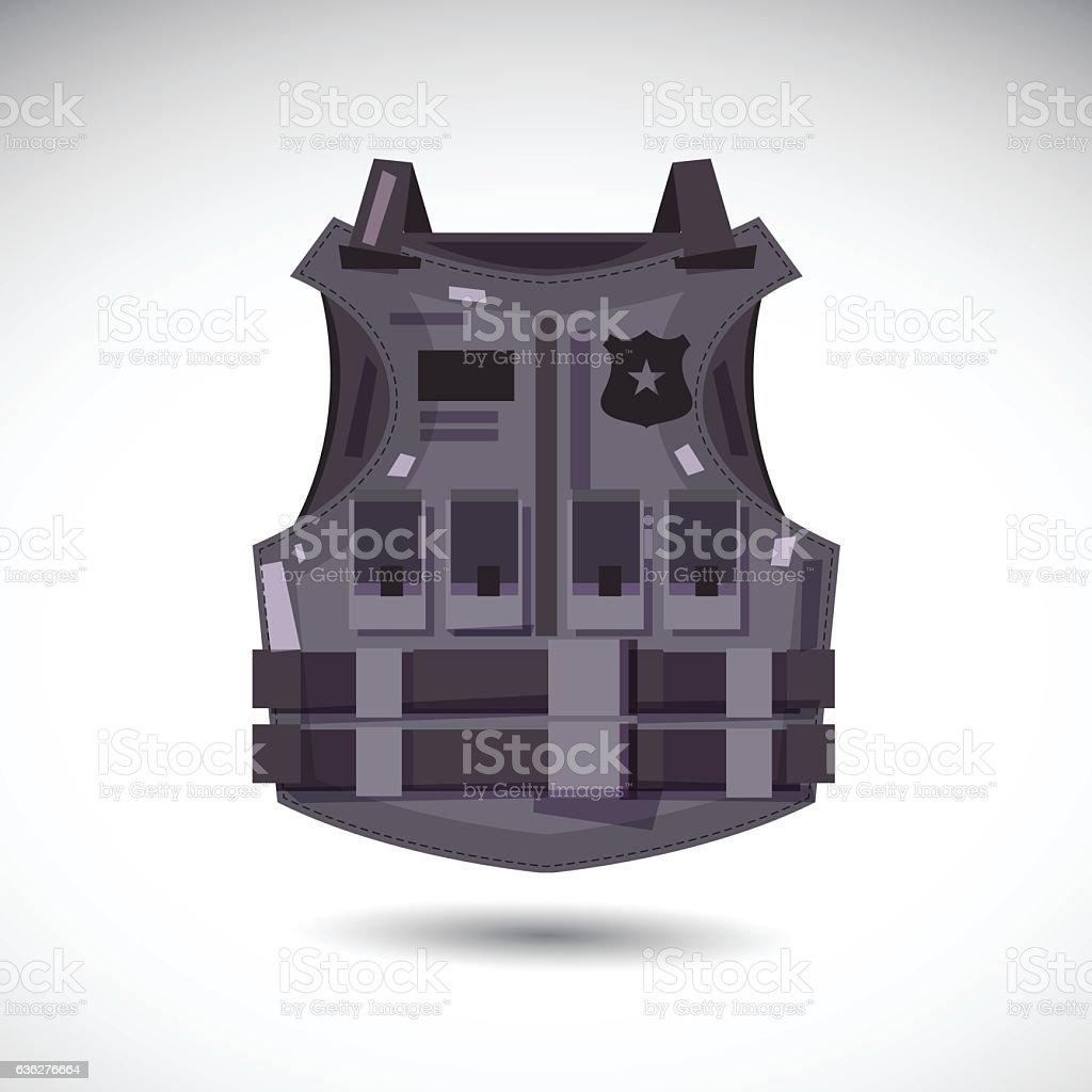 bullet proof vest. body armor suit. protect - vector vector art illustration