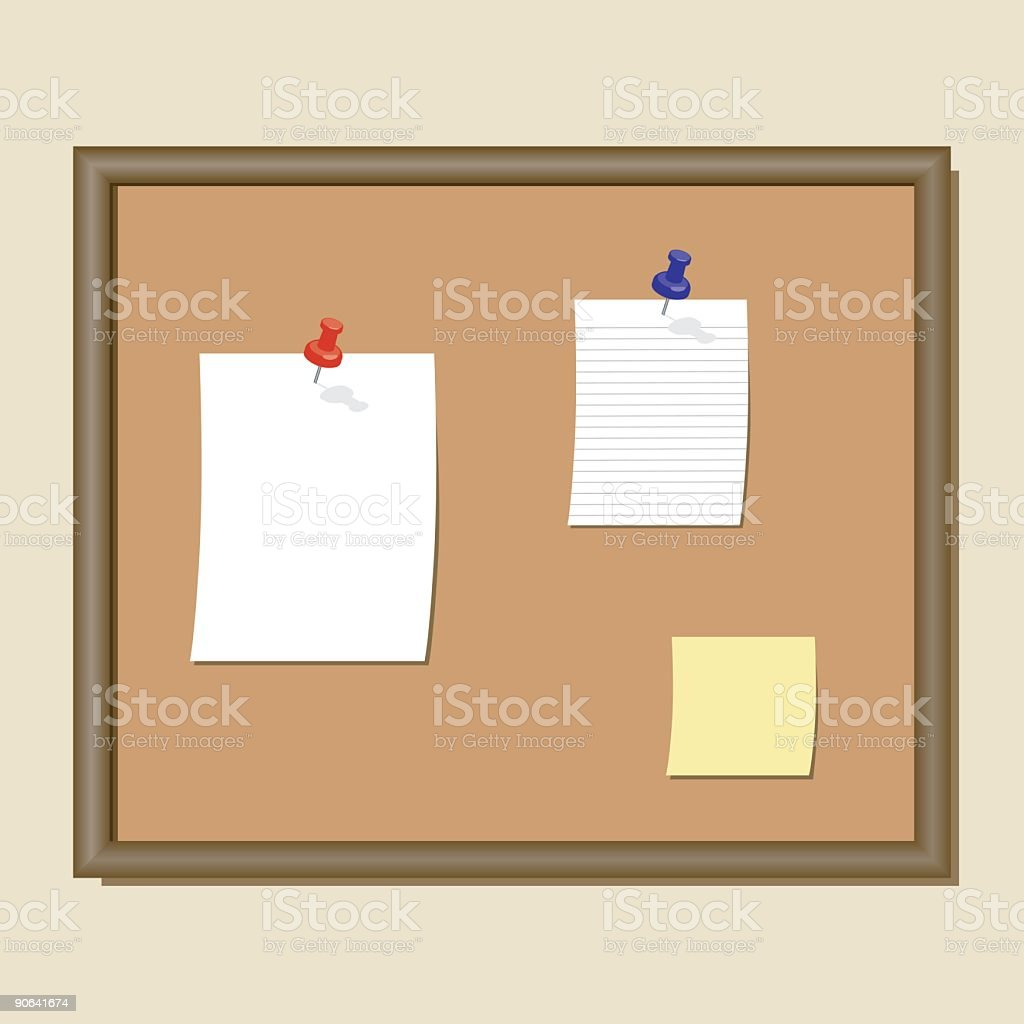 Bulletin Board With Notes royalty-free stock vector art