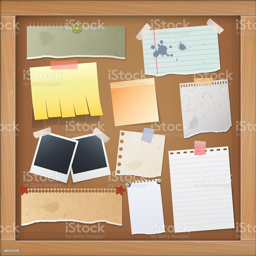 Bulletin board with photos and paper notes. vector art illustration