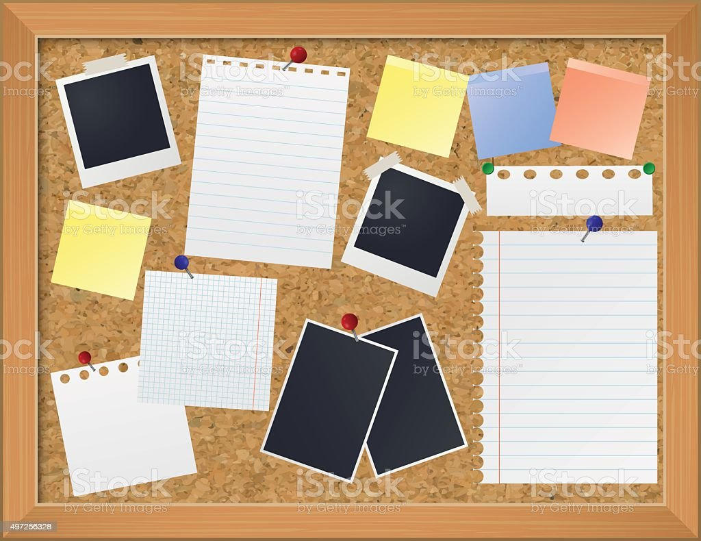 Bulletin board with photos and paper notes vector art illustration