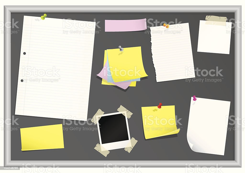 Bulletin board with stationery vector art illustration
