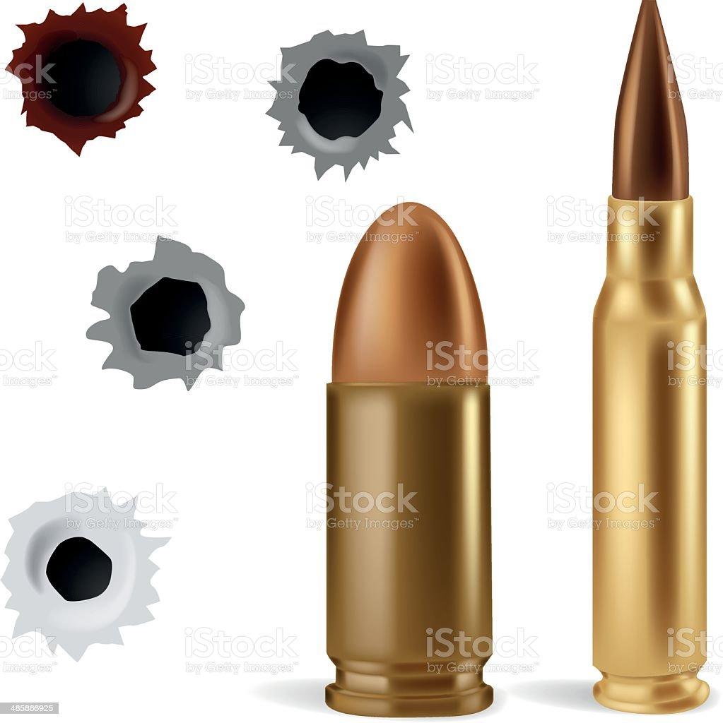 Bullets and bullet holes vector art illustration