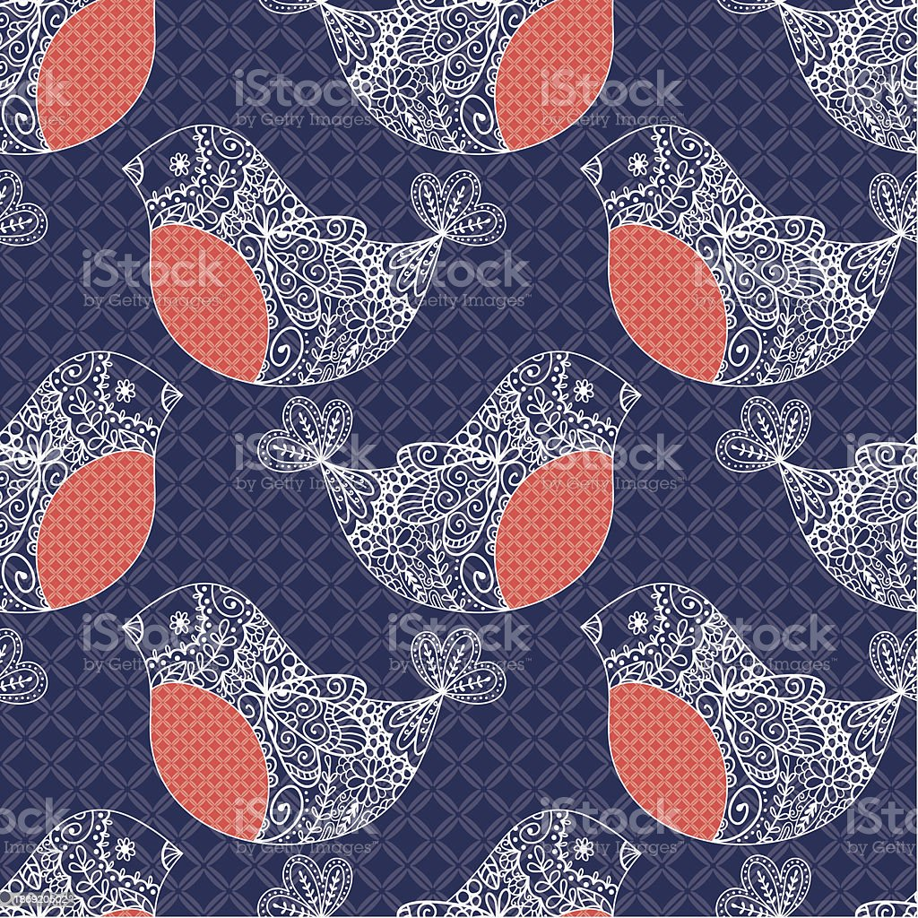 Bullfinch seamless pattern royalty-free stock vector art
