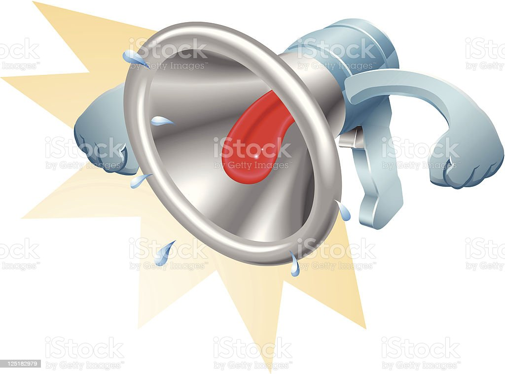 Bullhorn megaphone loudhailer shouting royalty-free stock vector art