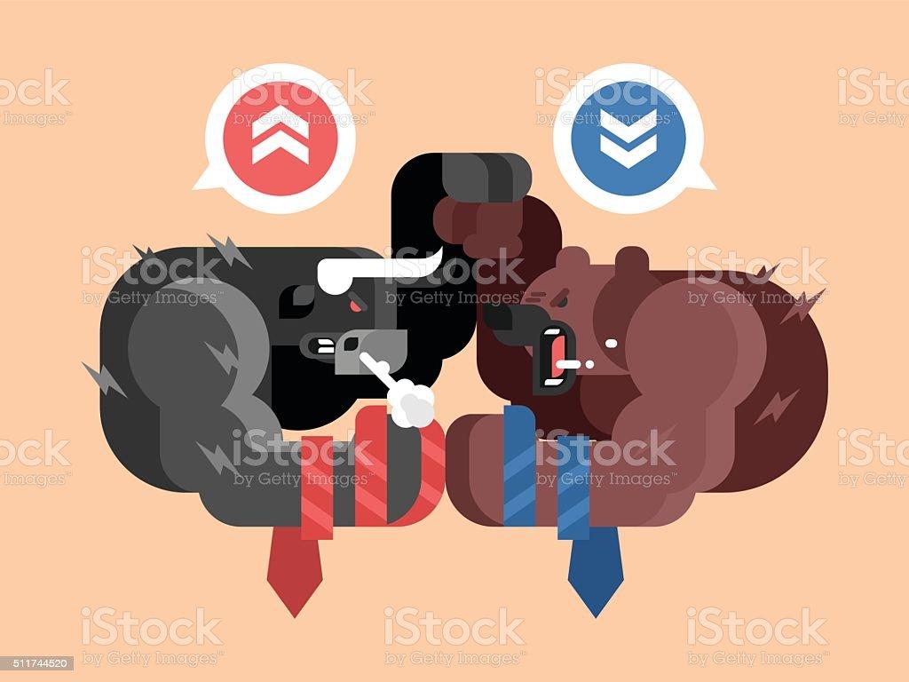 Bulls and bears fight vector art illustration