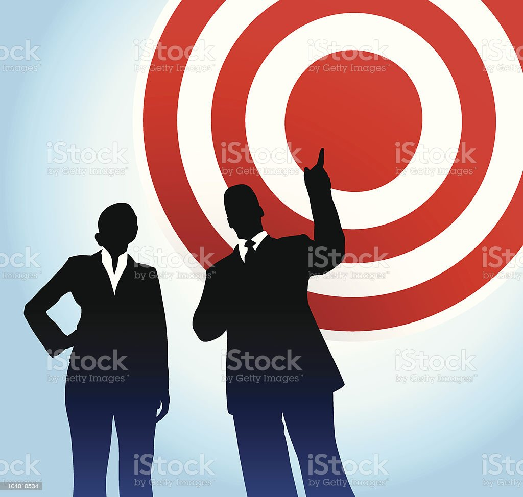 Bull's eye target background with business executives royalty-free stock vector art