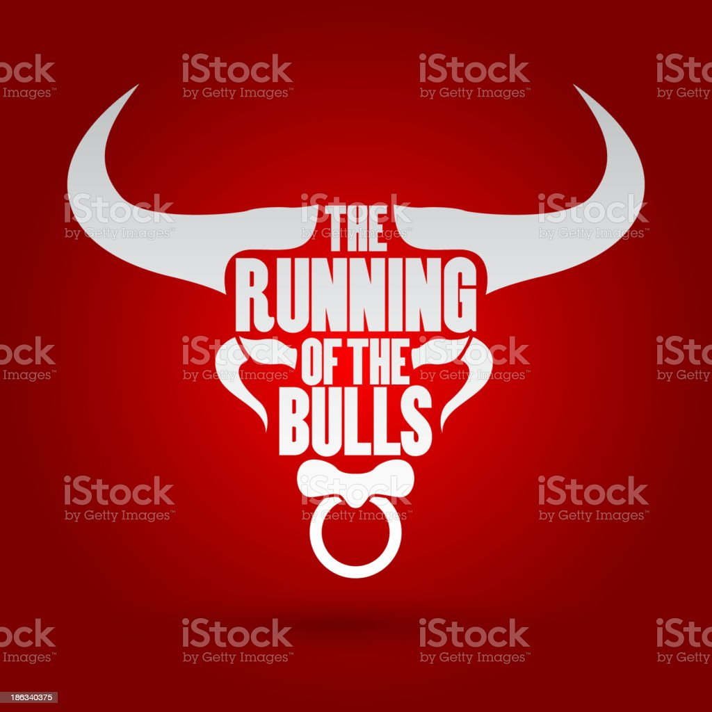 A bulls fest symbol with white writing on it royalty-free stock vector art
