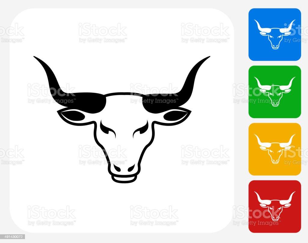 Bull's Head Icon Flat Graphic Design vector art illustration