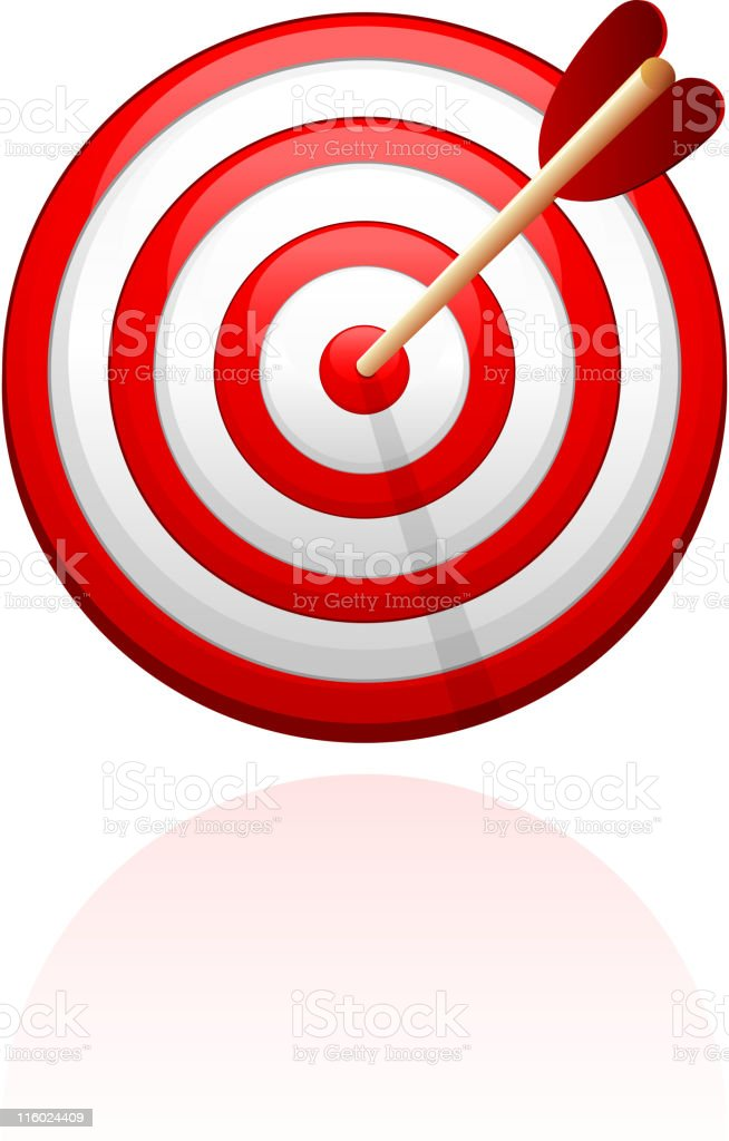 Bull's-Eye target with arrow royalty free vector illustration vector art illustration
