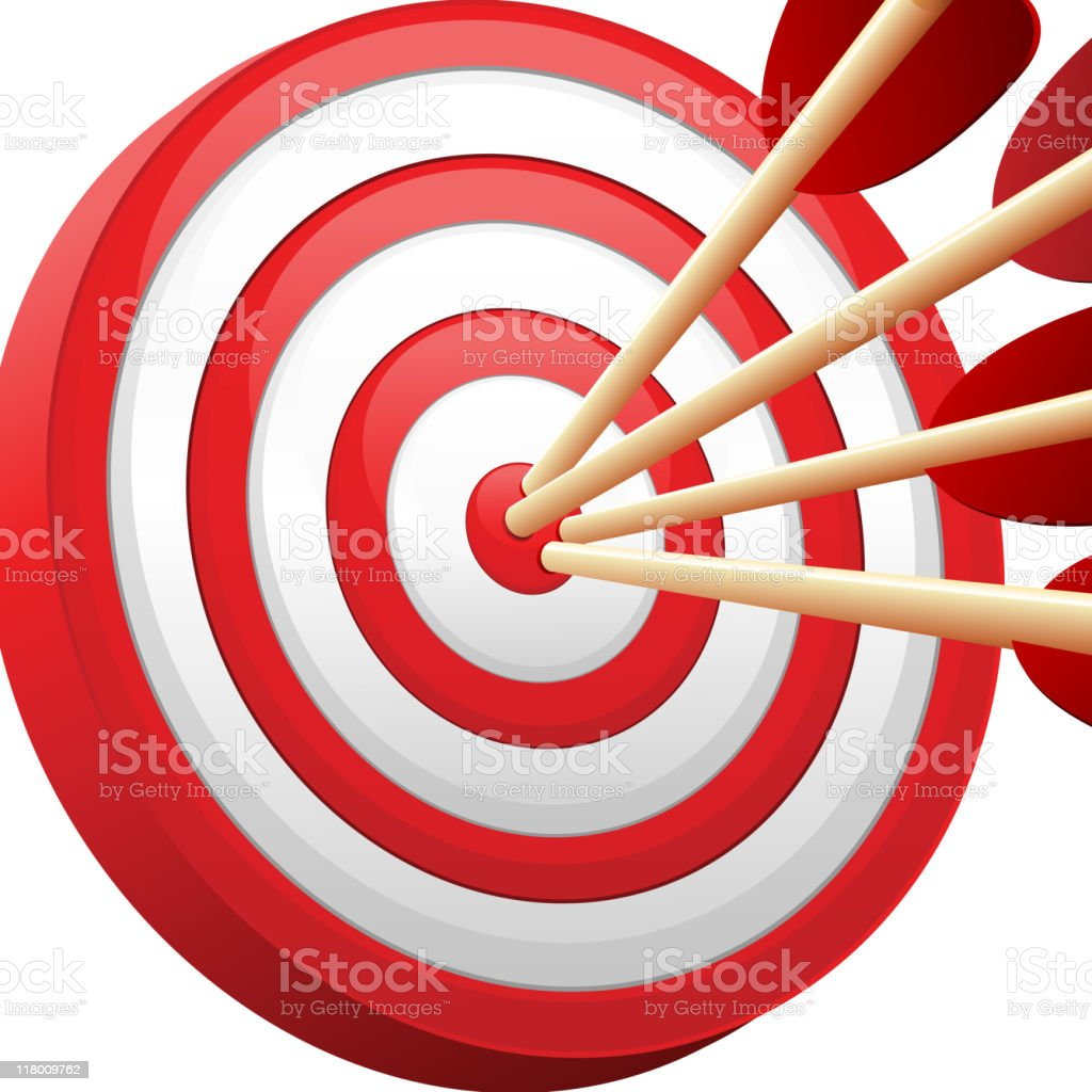 Bull's-Eye target with multiple arrows royalty-free stock vector art