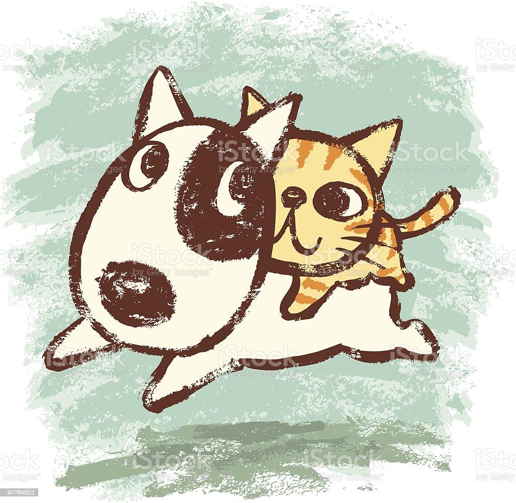 Bullterrier and kitten vector art illustration