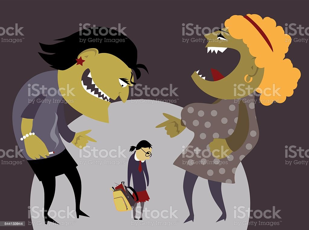 Bullying at school vector art illustration