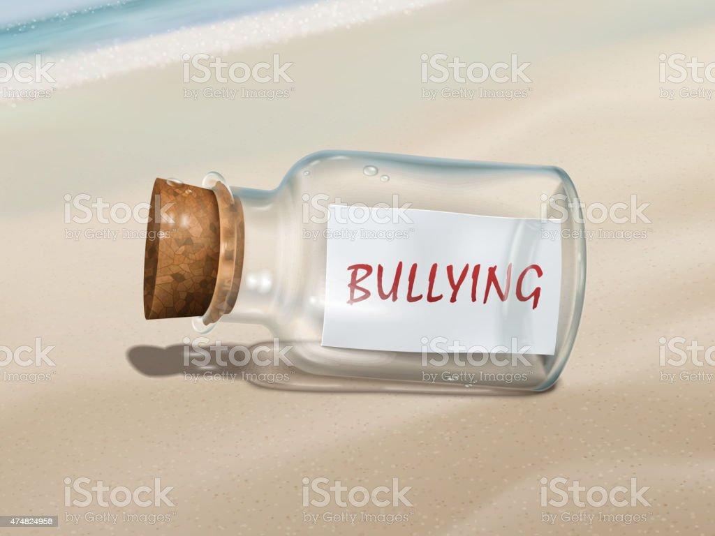 bullying message in a bottle vector art illustration