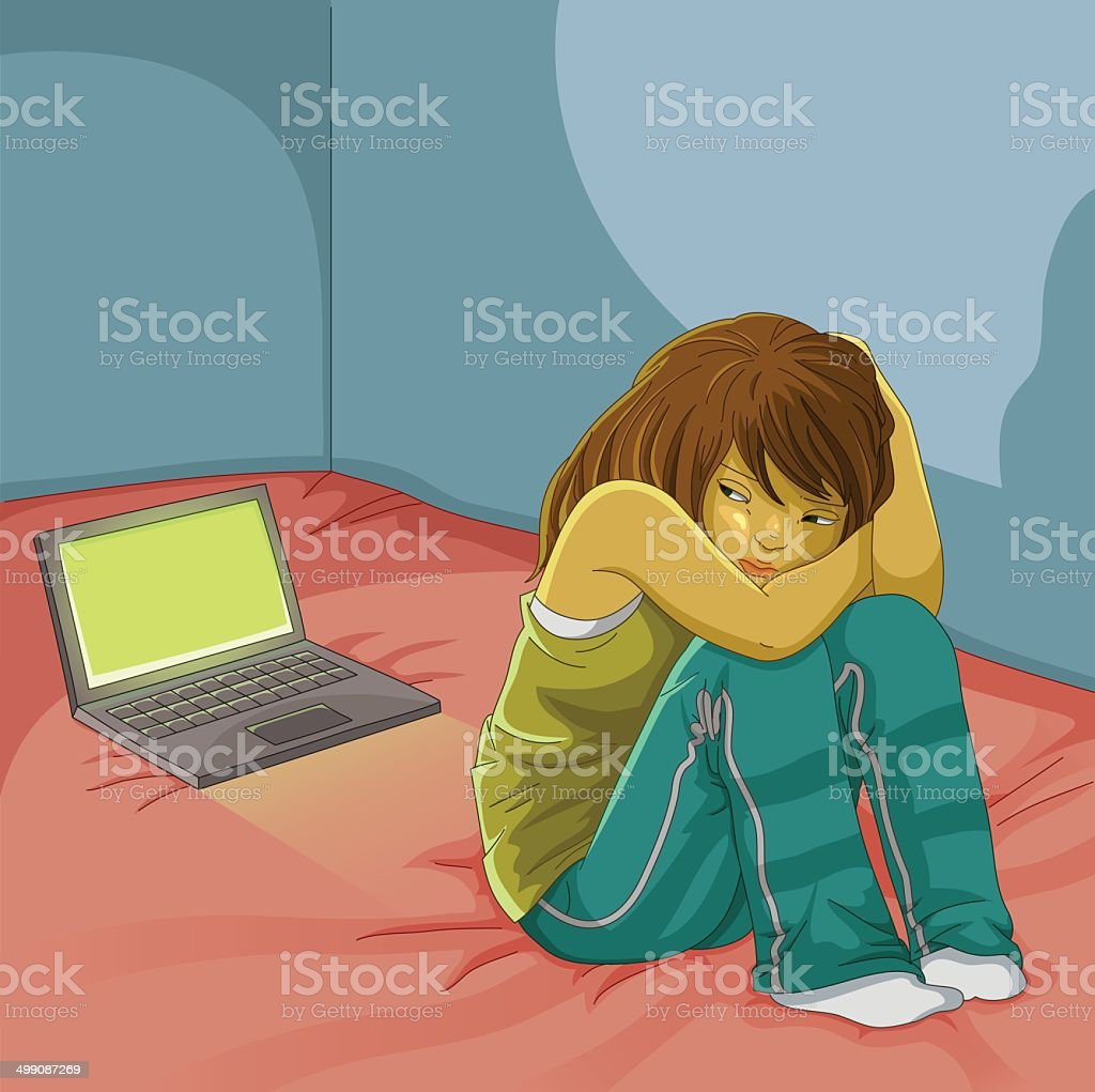 bullying online vector art illustration
