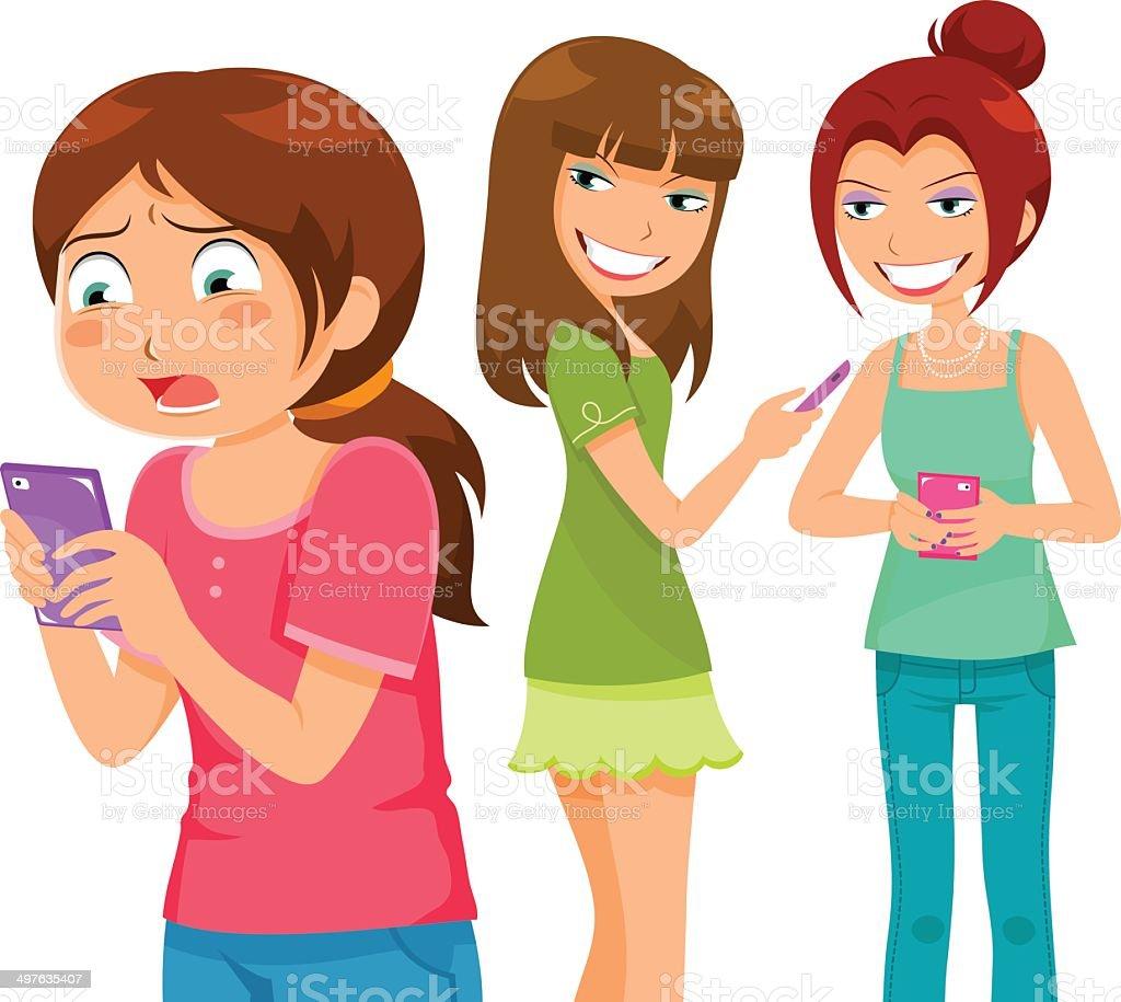 bullying through cell phones vector art illustration