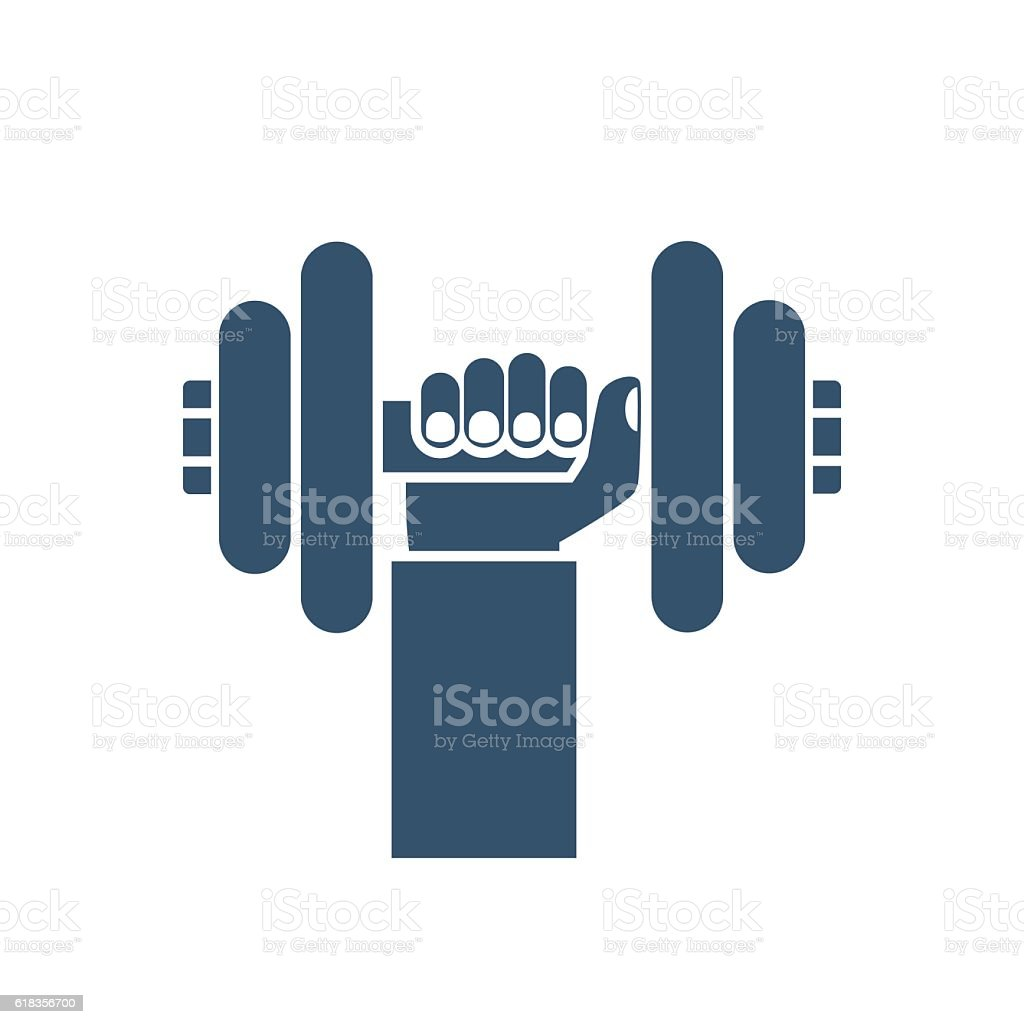 Bumbbells in hands icon vector art illustration