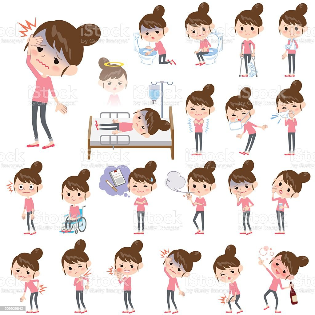 Bun hair mom Pants style About the sickness vector art illustration
