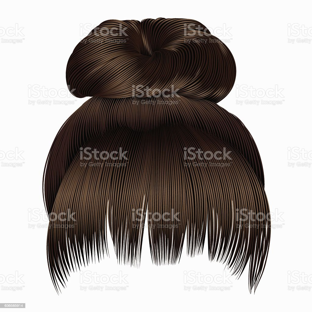 bun  hairs with fringe dark  brown colors . women fashion  style . vector art illustration