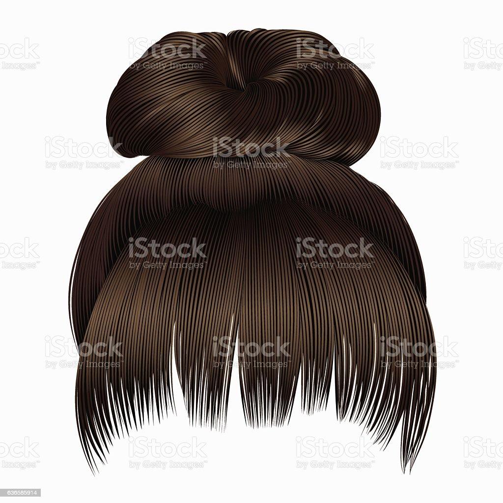 bun  hairs with fringe dark  brown colors . women fashion  style . vector art illustration