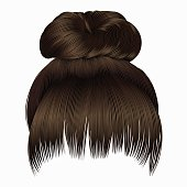 bun  hairs with fringe dark  brown colors . women fashion  style .