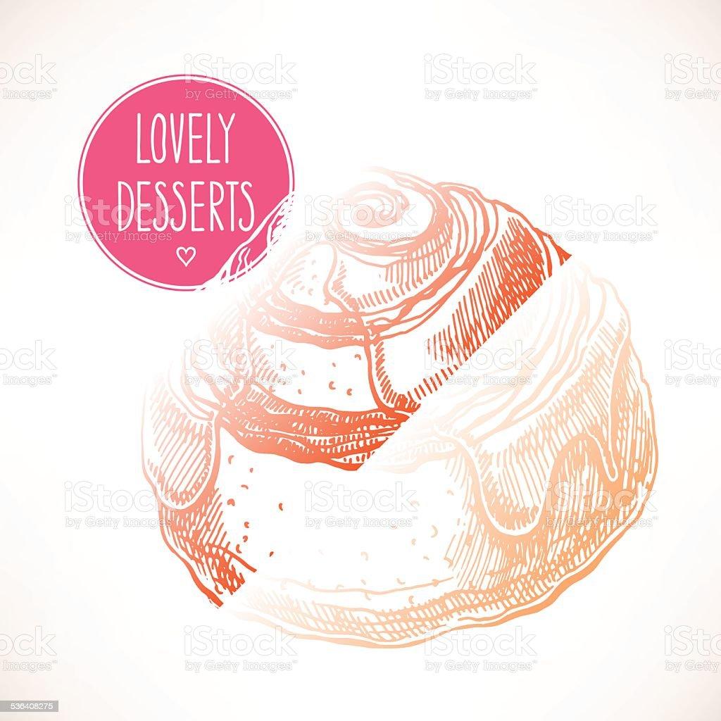 bun with cinnamon vector art illustration