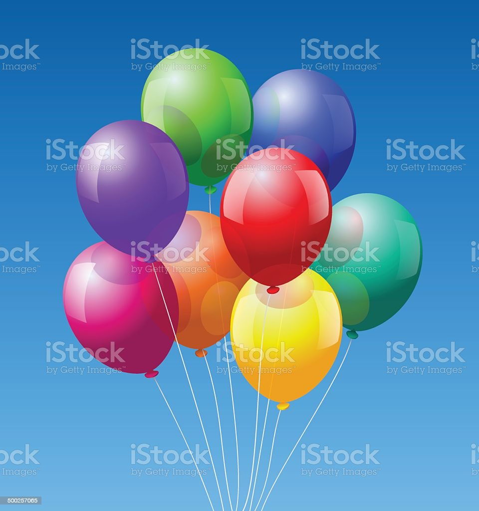 Bunch Balloons vector art illustration
