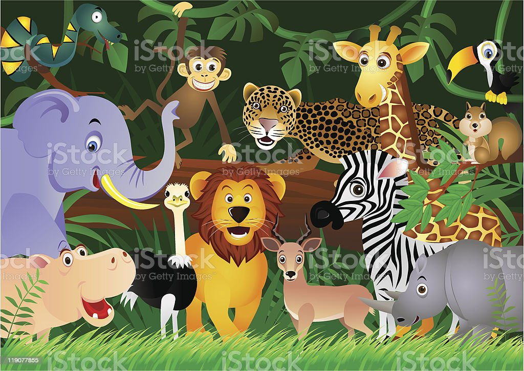 A bunch of animated animals in the jungle vector art illustration