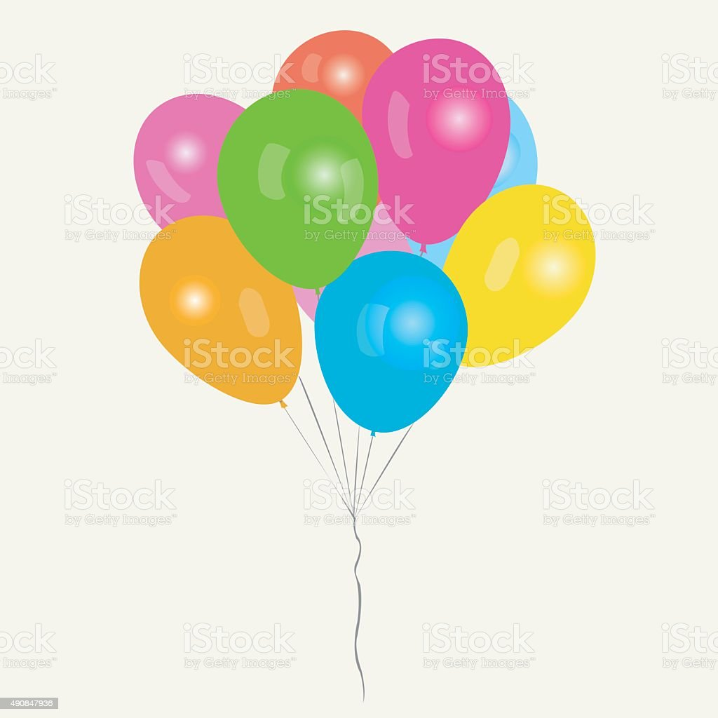 Bunch of colored balloons royalty-free stock vector art