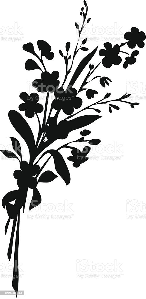 Bunch of flowers - silhouette vector art illustration
