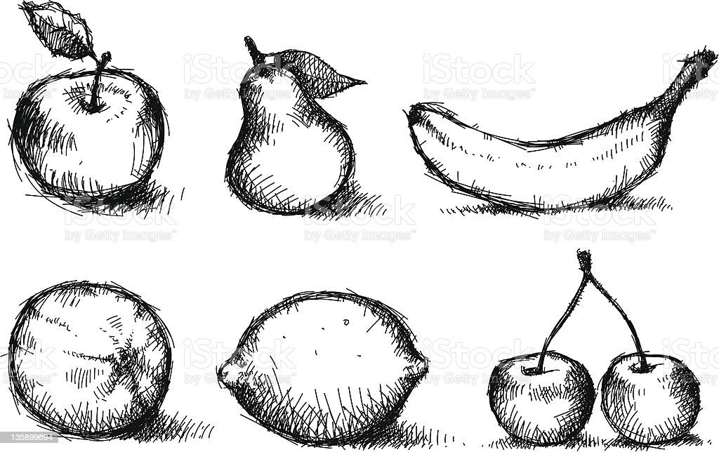 Bunch of fruits. Sketched. stock photo