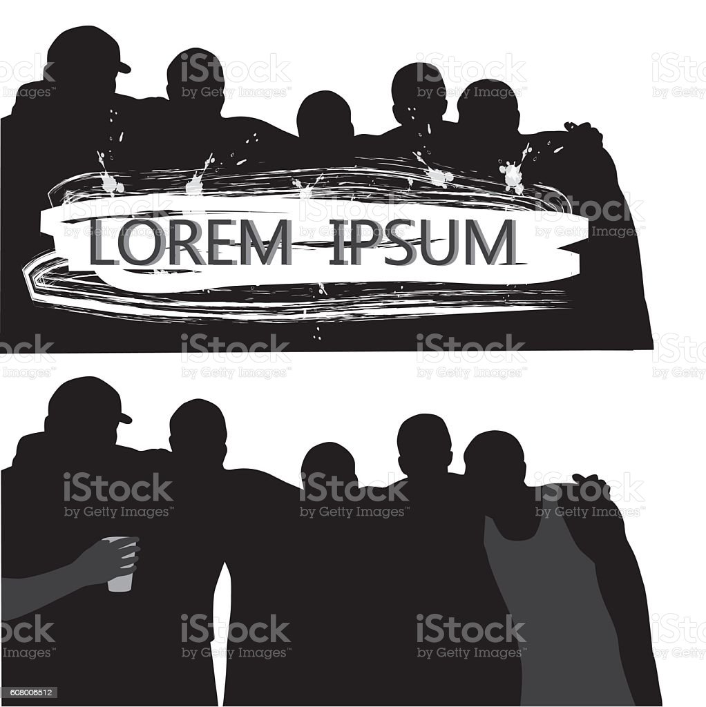 Bunch Of Guys Silhouette Vector vector art illustration