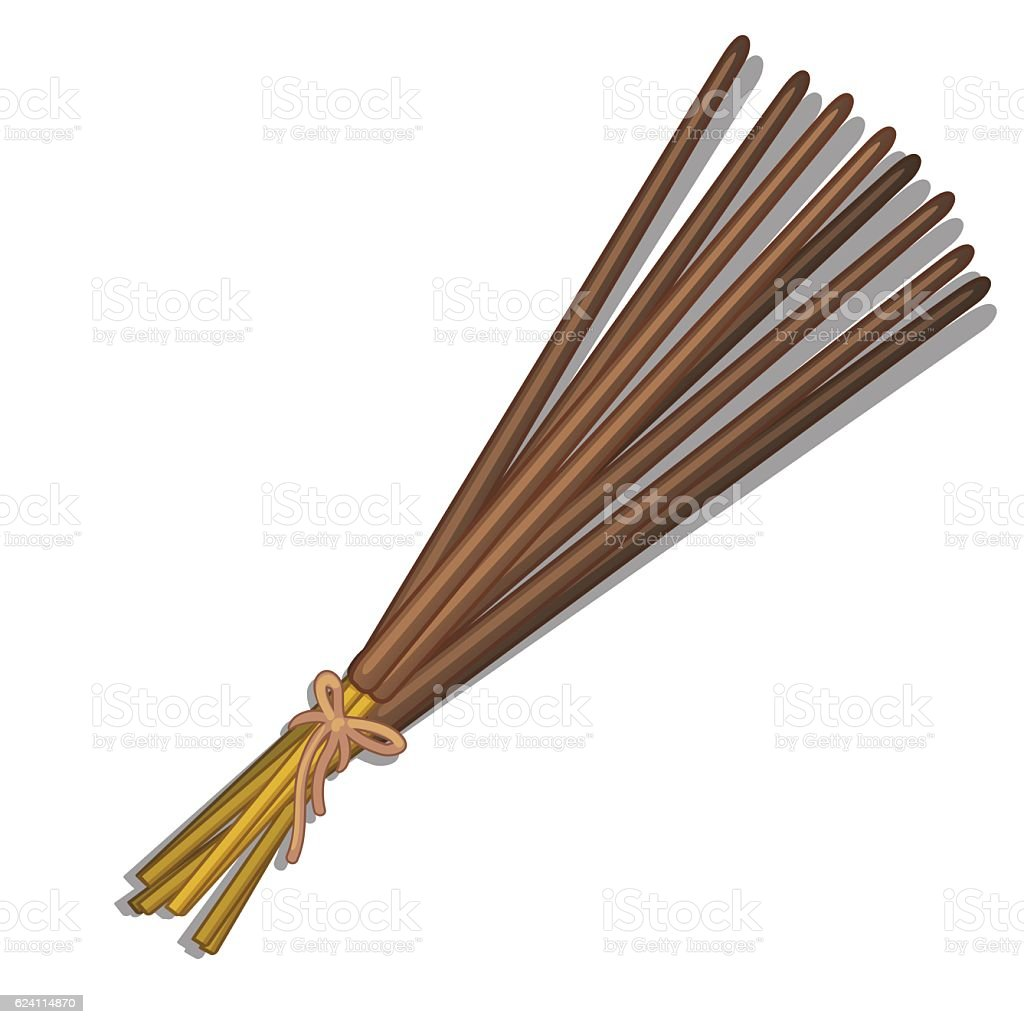 Bunch of incense sticks on white background vector art illustration