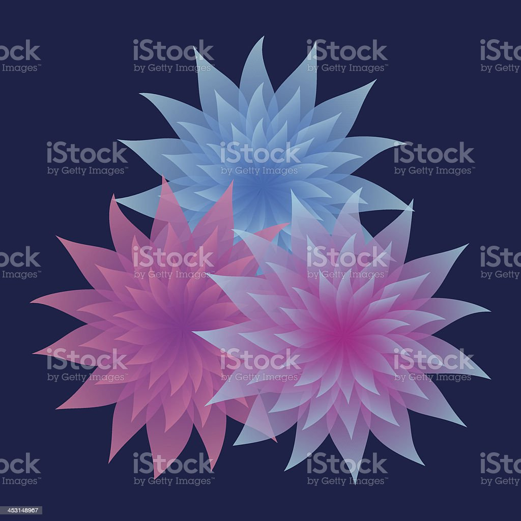 Bunch of Lilac and Blue Flowers on Dark Background royalty-free stock vector art