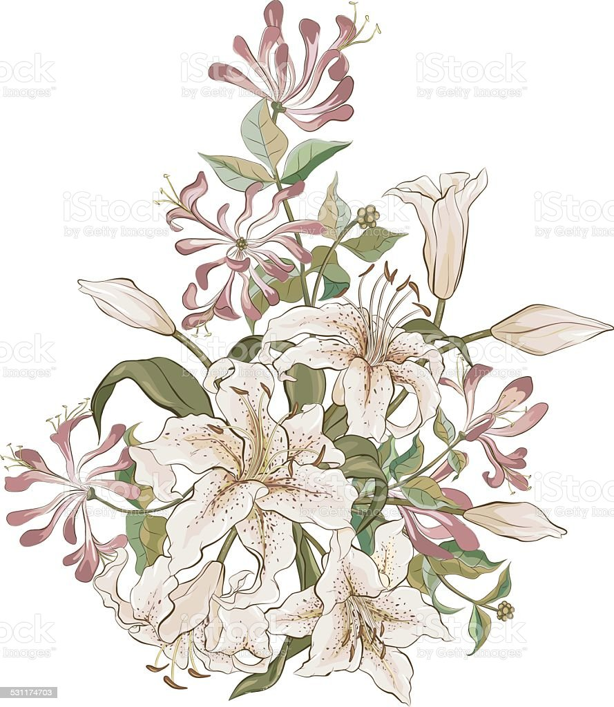 Bunch of lilies and honeysuckle vector art illustration