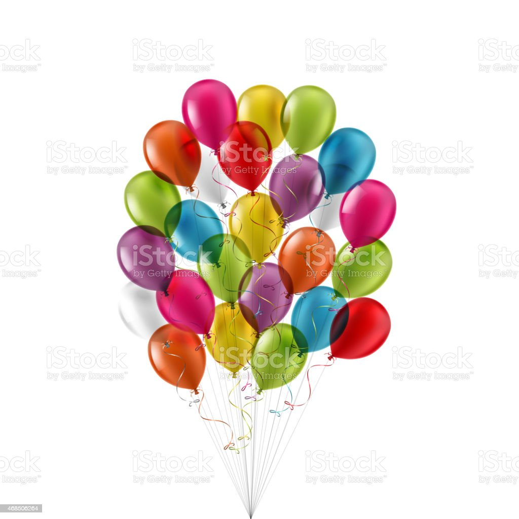 Bunch of multicolored balloons filled with helium vector art illustration