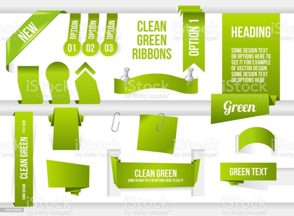 Bundle of Green Web Elements royalty-free stock vector art