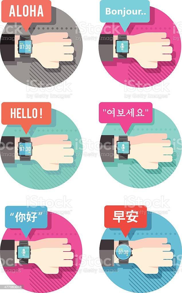 Bundle of smart watch in different language. vector art illustration