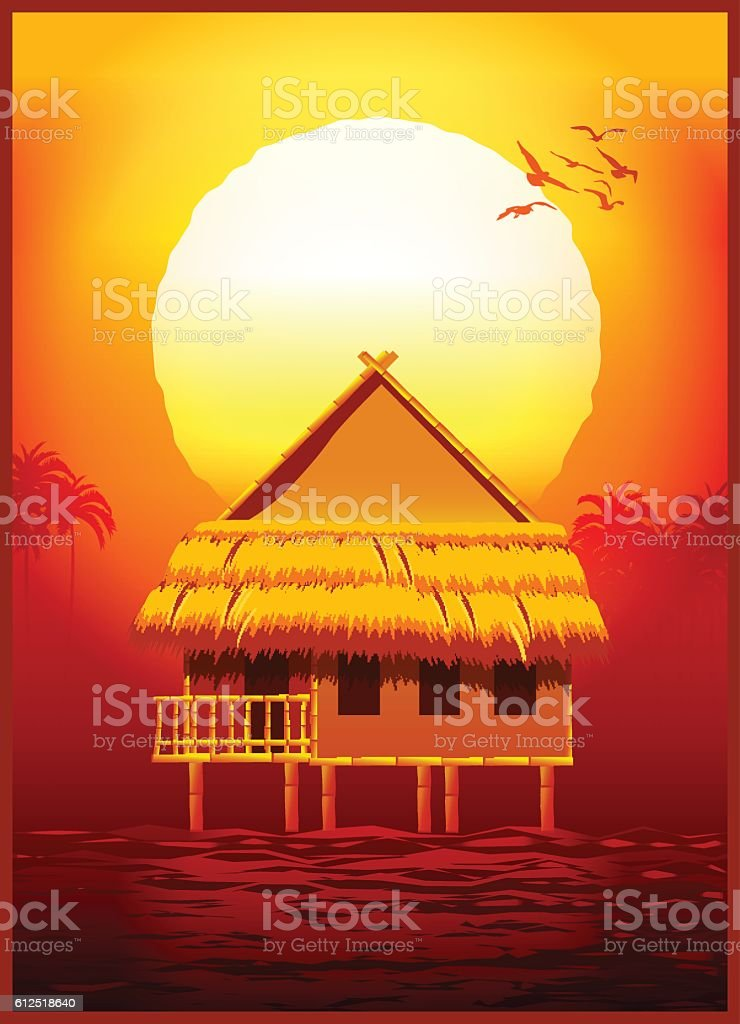 bungalow at sunset vector art illustration