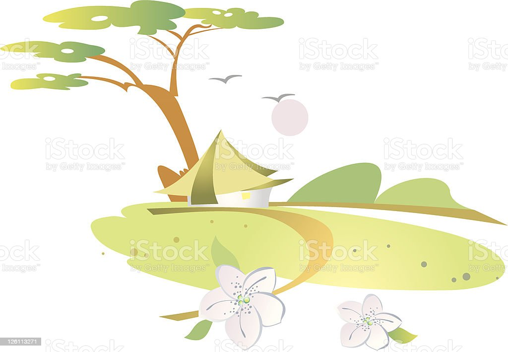 Bungalow royalty-free stock vector art