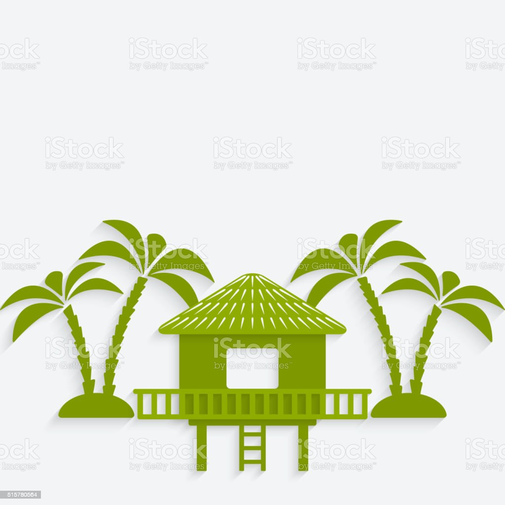 bungalow with palm trees vector art illustration