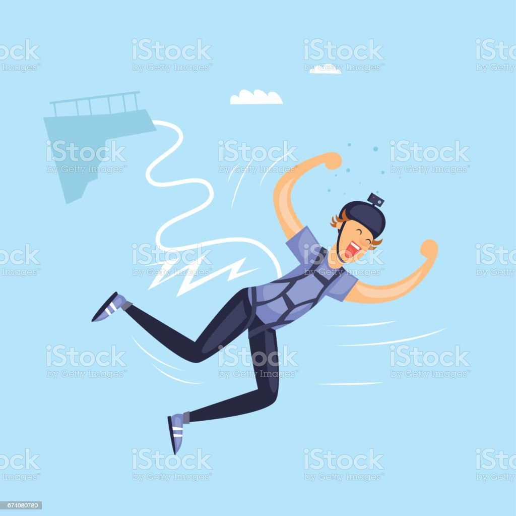 Bungee jumper. Isolated. Extreme sport. Flat design vector illustrations. vector art illustration
