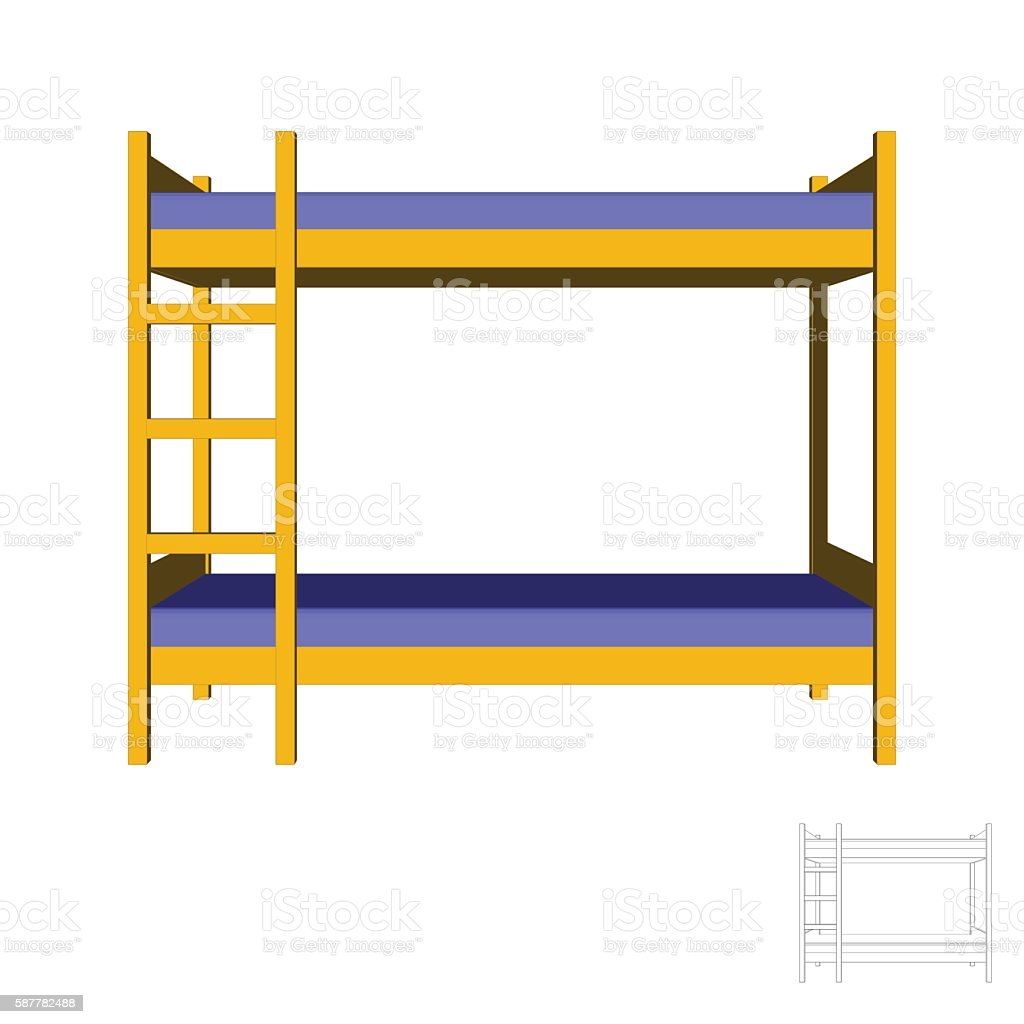 Bunkbed.3d Vector colorful illustration.Front view. vector art illustration