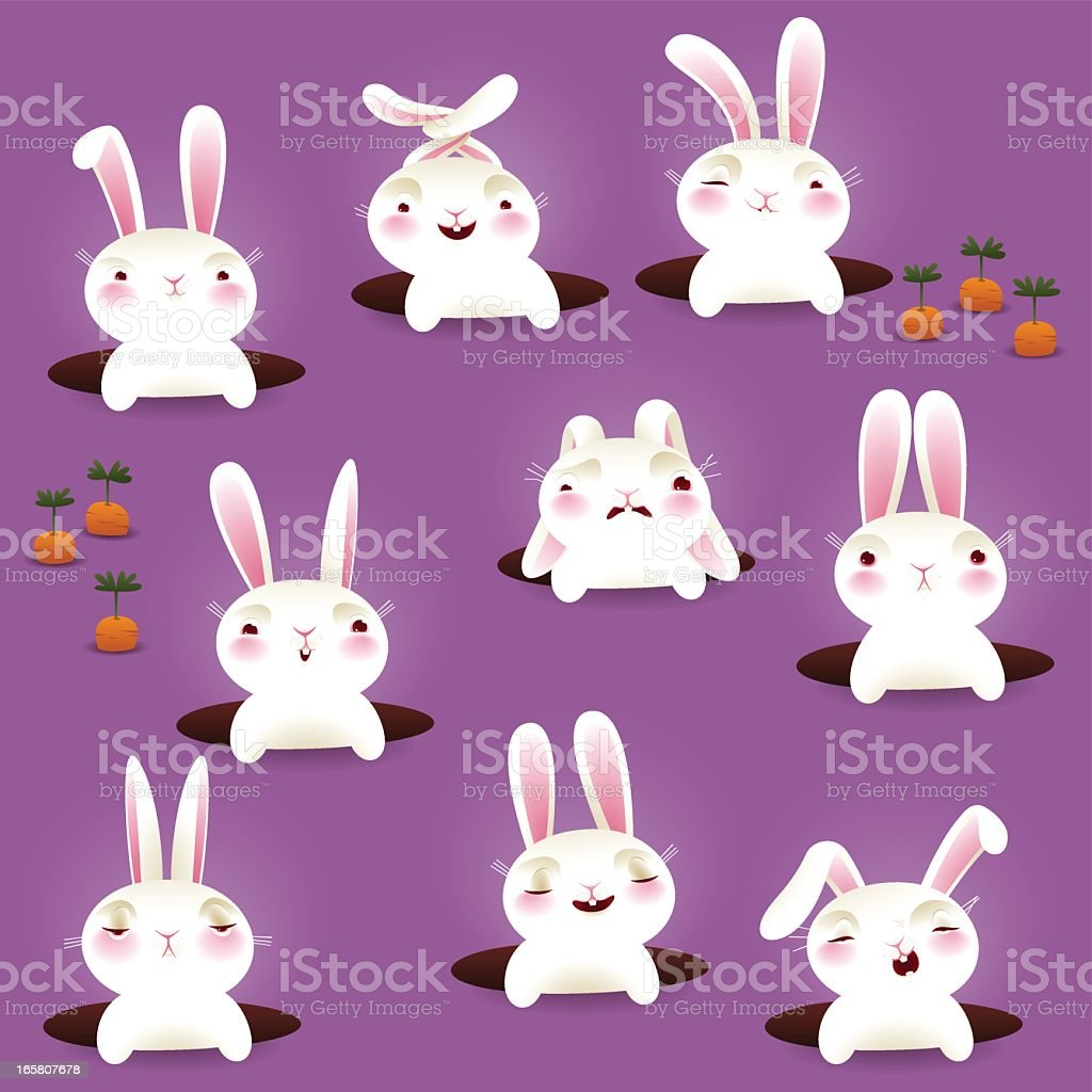 Bunnies in holes - EPS8 royalty-free stock vector art