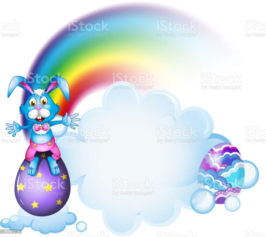 Bunny above the egg near rainbow royalty-free stock vector art