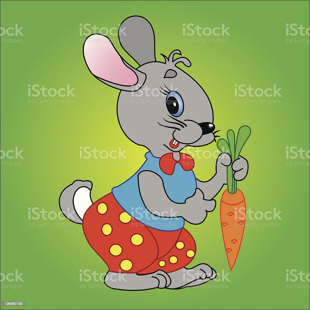 Bunny and carrot vector art illustration
